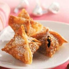 Chocolate kisses inside wonton wrappers by lilly