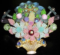 Stanley Hagler Massive Hand Wired Glass Bead Crystal Flower Basket Pin