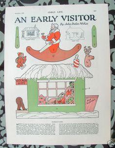 8x11 Child Life 1926 Christmas Magazine Paper Doll Moveable Santa Toy Store C5 | eBay
