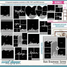 Sweet Shoppe Designs is a full service digital scrapbooking site which offers high quality digital scrapbook products from the industry's top designers. Frame Template, Layout Template, Valentines Frames, Scrapbook Templates, Page Layout, Digital Scrapbooking, Words, Fun, Products