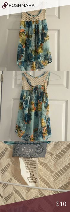 high low dressy tank high low dressy tank with blue/floral design and lace Tops Tank Tops