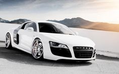 White #Audi #R8 #Algérie L'Audi R8 coupé. Ses courbes athlétiques sont le signe de ce qu'il y a à l'intérieur : performance pure et équipement explosif.