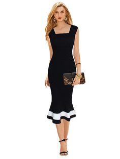 Kupuj tanio Kwadratowy dekolt bez rękawów typu syrena sukienka w Jollychic, Darmowa dostawa!