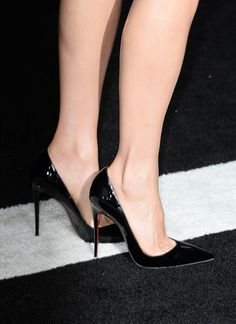 Maggie Q in Black Patent Louboutins - 'Divergent' Premieres in LA #CL #Louboutin