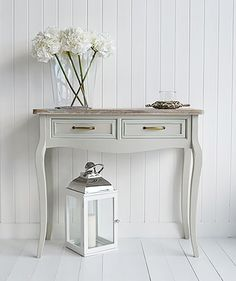 Bridgeport Grey Console Table With Drawers For Hallway Furniture The Washed Top Makes This