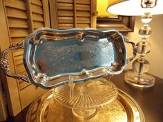 Vintage SILVER OBLONG TRAY Footed and Two by VintageCreativeAccen