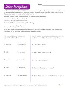 Use this helpful resource to teach your students how to identify whether or not a syllable is stressed or unstressed in a poem. Great for 4th-7th grade.