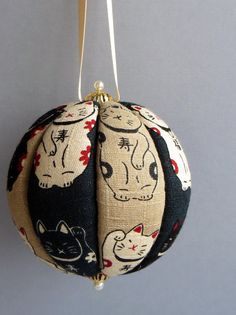 Japanese Maneki Neko Kimekomi Ornament by OrnamentDesigns on Etsy, $10.00
