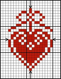 Free red & white heart design chart by Lesley Teare Cross Stitch Heart, Cross Stitch Alphabet, Cross Stitch Samplers, Cross Stitching, Cross Stitch Embroidery, Cross Stitch Patterns, Embroidery Monogram, Christmas Knitting, Christmas Cross