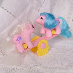 Vintage My Little Pony 'Sticky  Sniffles' 'Tuggles and Toddles' Newborn Baby Twins Pink Hobby Horse with Pink  Yellow See-Saw - G1 - 1987