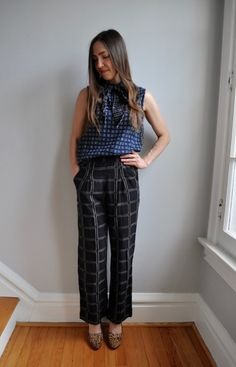 Ace & Jig Bow Top in Lattice + Gauchos in Black Magic
