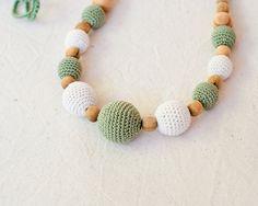 Olive & Cream Nursing Necklace / Teething Necklace by KangarooCare
