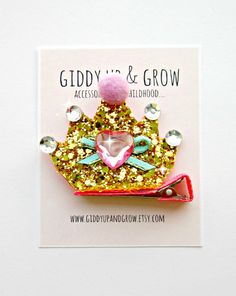 Crown Hair Clip - Glitter Crown Hair Clip with Crystals on Etsy, $12.00