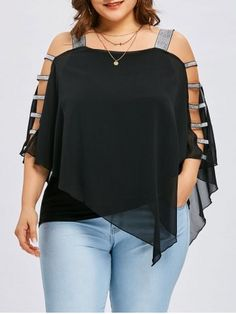 Sexy Women Blouse Fashion Plus Size 5 XL Ladder Cut Overlay Asymmetric Strapless Tops Large size strapless irregular top Plus Size Skirts, Plus Size Blouses, Plus Size Tops, Plus Size Women, Plus Size Outfits, Look Plus Size, Strapless Tops, Blouse Styles, Size Clothing