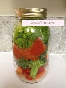 Keep veggies longer ~ Salad in a Jar!