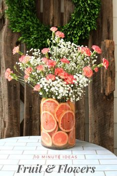 Wedding Flower Arrangements Quick tips for floral arrangements - DIY Fruit Floral Arrangement ideas that you can create in 10 minutes or less. Add a fresh bunch of flowers to your home decor. Fruit Flowers, Summer Flowers, Diy Flowers, Flowers Vase, Centerpiece Flowers, Centerpiece Ideas, Table Flowers, Flower Ideas, Pink Carnations