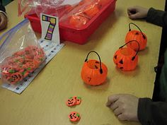 Keen On Kindergarten: October Math Work Stations Halloween Math, Halloween Activities, Autumn Activities, Math Activities, Math Games, Fall Halloween, Halloween Ideas, Happy Halloween, Kindergarten Anchor Charts