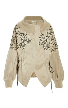 This **Adeam** Embroidered Drop Shoulder Bomber Jacket features an off the shoulder silhouette, oversized sleeves with embroidery detail, and a banded cuff. Tan Bomber Jacket, Brown Jacket, Hooded Jacket, Bomber Jackets, Outerwear Jackets, Classic Fashion Trends, Embroidered Bomber Jacket, Oversized Jacket, Sport Fashion