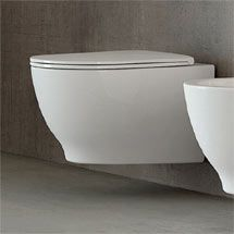 Shop the RAK Harmony Wall Hung Pan & Soft Close Urea Seat (HARWHPAN/SC). Perfect for stylish modern bathrooms with supple curves and smooth edges. Downstairs Toilet, Wall Mounted Toilet, Short Projection Toilet, Floating Toilet, Hanging Pans, Small Toilet, New Wall, Innovation Design, Modern Wall