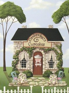 Canterbury Cupcakes Painting by Catherine Holman - Canterbury Cupcakes Fine Art Prints and Posters for Sale Cupcake Painting, Tole Painting, Art Fantaisiste, Posters Vintage, Cottage Art, House Quilts, Naive Art, Country Art, Art And Illustration