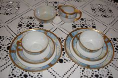 LIMOGES HAND PAINTED TEA /COFFEE SET FOR 2, CUPS, SUGAR, CREAMER, BLUE FLOWERS