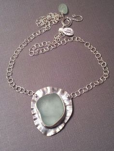 sea glass in modern hammered silver