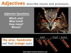 Adjectives Poster Sentence Diagramming Grammar