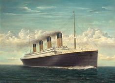 An oil painting of the Titanic at sea. Wonder what it was like to be aboard. Rms Titanic, Titanic Art, Titanic Ship, Titanic History, Titanic Movie, Titanic Drawing, Titanic Exhibition, Cunard Ships, Narrowboat