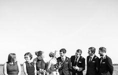 Wedding party at the beach | Vintage wedding photography | www.newvintagemedia.ca | Enoch Turner School House Wedding