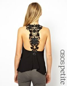 Image 1 of ASOS PETITE Exclusive Vest With Crochet Detail Back