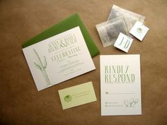 Jenna + Daniel's Desert Cactus Wedding Invitations I really like these. The wedding was at the Botanical Gardens