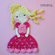 Crochet princess appliqué  crochet pattern DIY by VendulkaM, $4.50