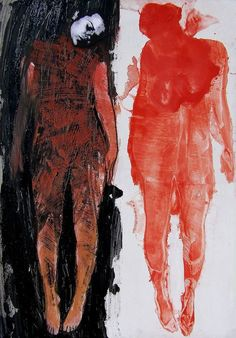 Ania Swiatlowska hopefully not a Rorshac test - Painting Media Figure Painting, Figure Drawing, Painting & Drawing, Arte Peculiar, Modern Art, Contemporary Art, Alternative Photography, Arte Horror, Art Graphique