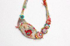 Little birds (light), handmade bib textile necklace, crochet and felt with fabric buttons and wooden bead closure. Fiber Art Jewelry, Textile Jewelry, Fabric Jewelry, Felted Jewelry, Jewellery, Handmade Jewelry, Felt Necklace, Fabric Necklace, Crochet Necklace