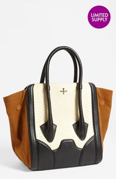 e8442f5eb099 Pour la Victoire  Butler - Large  Snake Embossed Leather   Suede Tote