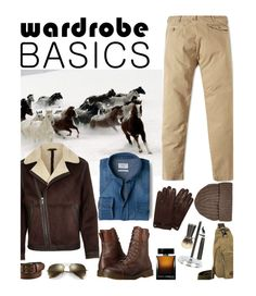 """""""Wardrobe Basics: Menswear'"""" by dianefantasy ❤ liked on Polyvore featuring RRL, MANGO, Dr. Martens, Ray-Ban, Uniqlo, Mulberry, Samsung, Dolce&Gabbana, Cedes et mens"""