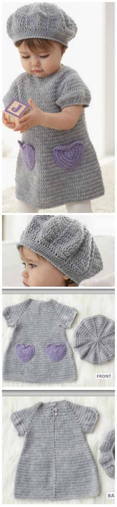 Beehive Crochet Baby Dress And Hat (FREE Pattern)