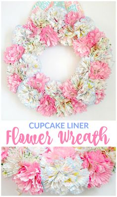 Spring paper flower wreath using cupcake liner cups. #springwreath #paperflowers #eastercrafts