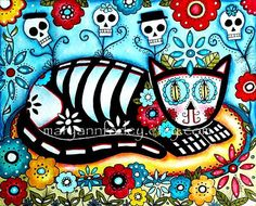Cat Art Print, Mexican Day of the Dead Art, Whimsical Art, Watercolor Mixed…
