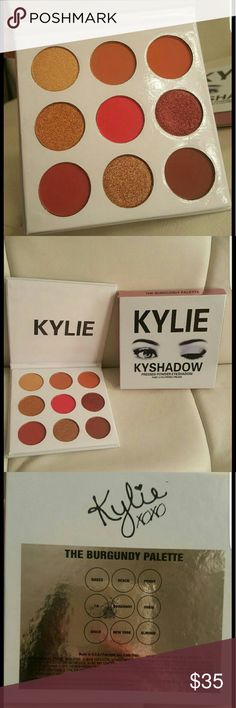 EYESHADOW PALETTE? KYLIE Burgundy pallette. The #KylieCosmetics Kyshadow pressed powder eye shadow palette is your secret weapon to create the perfect Kylie eye. Each Kyshadow Kit comes with 9 pressed powder eye shadows that can be used together to recreate Kylie?s favorite looks or customize your own.   Each Burgundy Palette contains the following shades:  Naked (satin finish golden sand), Beach (matte finish light warm brown), Penny (matte finish red orange), LA (metallic finish true…