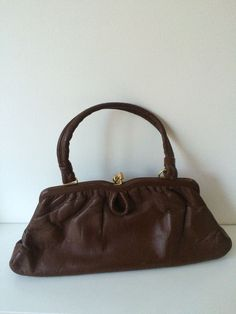 Vintage Soft Brown Real Leather Single Strap Handbag 40s 50s 60s Freedex Model