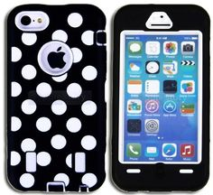 Amazon.com: myLife (TM) Black + White Polka Dots (Built In Screen Protector) Case for New Apple iPhone 5C Touch Phone (Full Body Defender Ar...