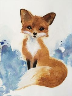 Watercolor Fox Art Woodland Painting by SweetPeaAndGummyBear
