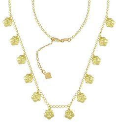 7c548ea4367da Gargantilha folheada a ouro c  pingentes em forma de flor (semelhante ao da  Clara