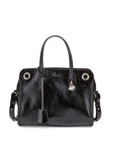Alexander McQueen Patent Small Eyelet Padlock Satchel Bag