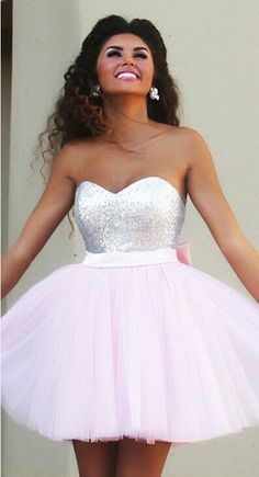 Strapless Sweetheart Sequin Bodice Tulle Pink Homecoming Dress