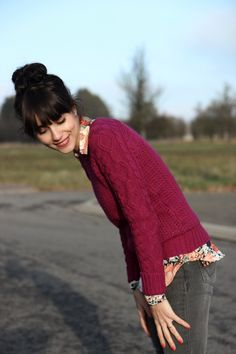 I love the collared shirt patern under the sweater!!! Love these colors together!!!! Winter Color Crush: Berry Tones
