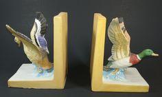 Vintage Ceramic Bookends, Birds in Flight, Ducks, Home Decor, Collectible…