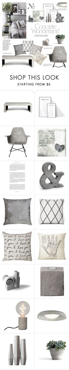 """""""Decorate w/ Concrete"""" by happilyjynxed ❤ liked on Polyvore featuring interior, interiors, interior design, home, home decor, interior decorating, Lyon Béton, Oliver Gal Artist Co., Trilogy and Dot & Bo"""