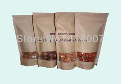 Free shipping 100pcs/lots Standup kraft paper bag with window and zipper for food 120x195mm-in Packaging Bags from Industry & Business on Aliexpress.com